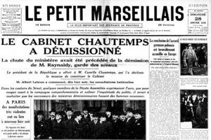 Une du «Petit Marseillais» du 28 janvier 1934: l'affaire Stavisky fait chuter le Cabinet Chautemps.