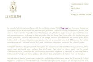 Communiqué de presse du Negresco annonçant le décès de sa propriétaire