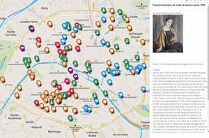 Capture d'écran de la carte interactive. Sélection de la première boutique de mode de Jeanne Lanvin.
