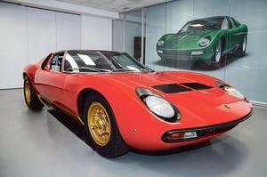 Lamborghini expose à Rétromobile une rutillante Miura, restaurée par son département Polo Storico.