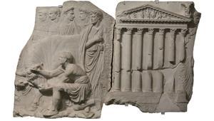 Moulage d'un relief de la Villa Médicis emprunté à la clôture d'un autel élevé pour célébrer le retour de Claude après sa victoire sur onze rois bretons en 43 (Rome, musée de la Civilisation romaine).