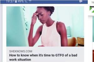 Une suggestion d'article pour suggérer à un collègue de partir «Comment savoir quand il est temps de quitter à toute vitesse une situation de travail insupportable».