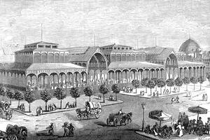 Vue du Pavillon Baltard aux Halles de Paris. Gravure, Bourdelin, 19e siècle.