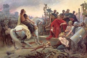 Vercingétorix jette ses armes aux pieds de César. Tableau de Lionel Royer, 1899.