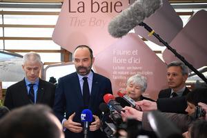 Franck Riester, Edouard Philippe, Jacqueline Gourault et Christophe Beaux le 14 mars au Mont-Saint-Michel.