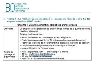 Doc. 1, extrait du Bulletin officiel de l'Éducation nationale relatif au programme des premières générales.