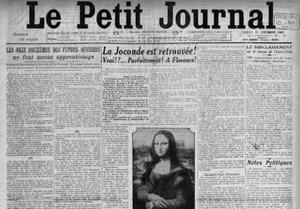 Le Petit Journal du 13 décembre 1913 titre sur la Joconde retrouvée à Florence.