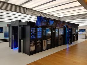 Un modèle réel exposé de «Cloud Data Center», conçu tout spécialement pour l'export puisqu'il tient dans un conteneur maritime standard.