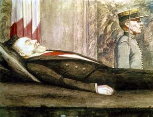 Le Président français Paul Doumer sur son lit de mort. Dessin de Louveau-Rouveyre.