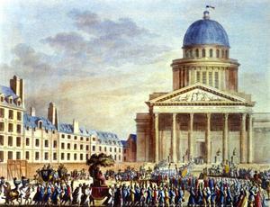 Gravure figurant les cendres de Jean-Jacques Rousseau portées au Panthéon à Paris en 1794.