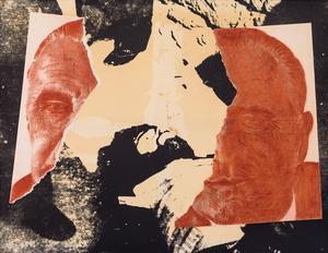 <i>1972 Pompidou Overney</i>, deMerri Jolivet, unefigure del'Atelier populaire desBeaux-Arts en1968.