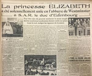 Extrait d'une page du «Figaro» du 21 novembre 1947, relatant le mariage de la princesse Elizabeth Windsor.