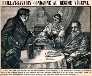 Jean-Anthelme Brillat-Savarin (à droite), Gravure en couverture de l'hebdomadaire «La cuisine des familles» en mars 1907.