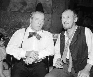 Tournage le 22 juin 1957 du film «Les Misérables» réalisé par Jean-Paul Le Chanois avec Jean Gabin et Bourvil.