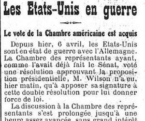 «Le Figaro» du 7 avril 1917 annonce le vote du Congrès américain.