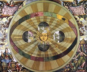 Représentation de l'univers selon Nicolas Copernic: le soleil est au centre, les planètes autour. Gravure hollandaise du 17e siècle.