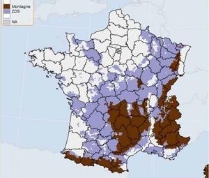 La carte provisoire des zones agricoles défavorisées.