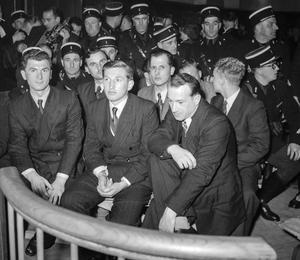 Procès d'Oradour-sur-Glane au tribunal militaire de Bordeaux, 13 janvier 1953: les accusés.