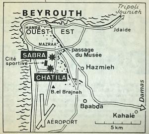 Carte localisant les camps de réfugiés palestinniens de Sabra et Chatila parue dans Le Figaro du 20 septembre1982.