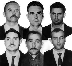Les 6 accusés du procès du Petit-Clamart en 1963. En haut: Alain de la Tocnaye, Bastien-Thiry , Pierre Magade. En bas: Jacques Prevost , Alphonse Constantin , Etienne Ducasse. ©Rue des Archives/AGIP