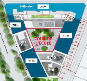 La cour d'école sera entourée de bâtiments.