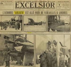 Le lieutenant Boussoutrot, pilote du premier aérobus français, Paris Londres et les passagers montant à bord du «Goliath».