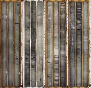 Exemple de registre géologique dans lequel on distingue les différentes couches sédimentaires qui se sont déposées successivement.