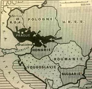 En grisé, les pays du pacte de Varsovie dont les troupes ont envahi la Tchécoslovaquie. Carte parue dans «Le Figaro» du 22 août 1968.