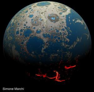 Vue d'artiste de la Terre pendant l'Hadéen.