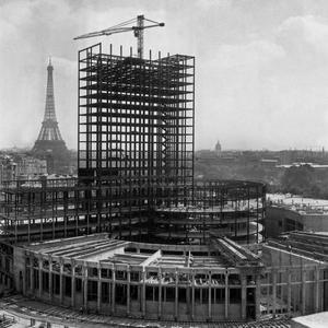 Chantier de la construction de la Maison de la Radio, le 4 août 1959.