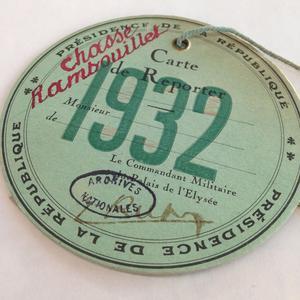 Un badge pour les journalistes couvrant les chasses présidentielles en 1932.