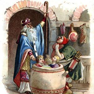 Représentation de la légende de saint Nicolas: il aurait ressuscité des enfants assassinés par un boucher.