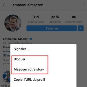 Exemple d'options «bloquer» ou «masquer» sur Instagram.