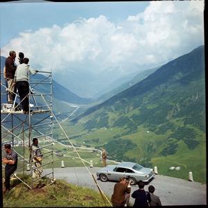 La DB5 lors du tournage de Goldfinger.