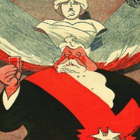 Caricature «La tournée du président Fallières» parue dans <i>Le Fouet</i>, le 16 avril 1911