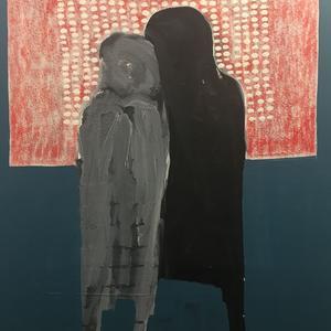Amadou Sanogo. Acrylic sur toile. «Place d'expression» (2017). 188X160 cm.