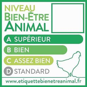 Pour être noté A, l'élevage doit compter moins de 11 poulets par m², avoir un accès extérieur, des perchoirs et se trouver à moins de 3heures de l'abattoir.