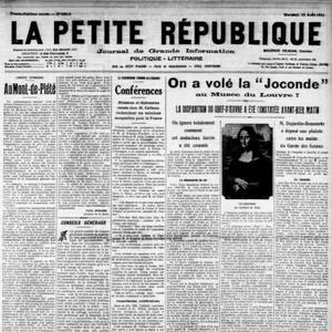 «La Petite République» du 23 août 1911 annonce en Une le vol du tableau de la «Joconde» au Louvre.