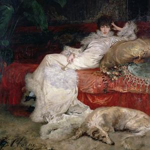 Portrait de la comédienne Sarah Bernhardt peint par Georges Clairin en 1876.