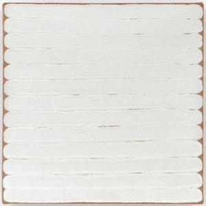 Robert Ryman, «Untitled», 1965, huile sur toile (28.6 cm x 28.6 cm x 3.2 cm).