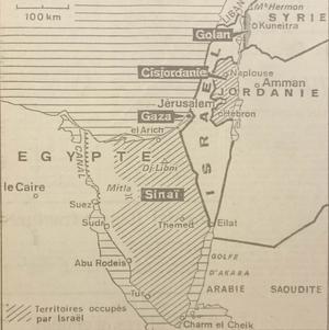 Carte parue dans «Le Figaro» du 4 septembre 1978, figurant les quatre zones d'occupation israélienne.