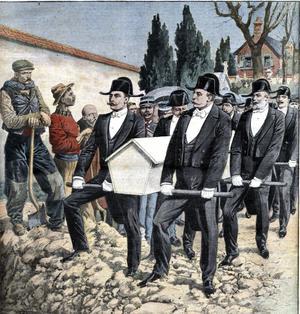 Les membres des Charitables procèdent à un simulacre d'enterrement des guillotinés, «Le Petit Journal illustré» 24 janvier 1909.