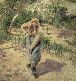 «Femme creusant dans un verger», Pissarro 1882.