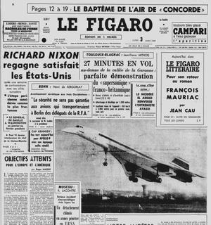 En Une du Figaro du 3 mars 1969, le premier vol du Concorde 001 au-dessus de la vallée de la Garonne.