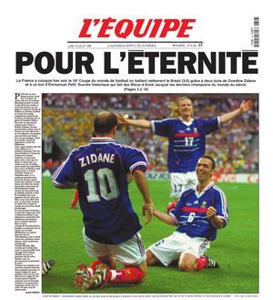 Le journal de la victoire en 1998 est réédité ce samedi.