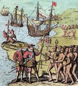 Christophe Colomb à Hispaniola, tiré de «L'histoire narrative et critique de l'Amérique», éditée par Justin Winsor, Londres, 1886.