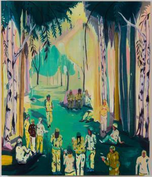 Jules de Balincourt <i>Women Not Seen, </i>(2017) à l'exposition «Déjeuner sur l'herbe», Galerie Thaddaeus Ropac Pantin.