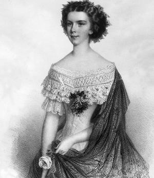 Élisabeth de Wittelsbach (1837-1898) impératrice d'Autriche dite Sissi.Lithographie d'Adolf Dauthage vers 1857.