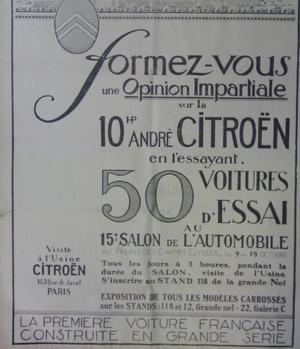 Page de publicité de Citroën dans <i>Le Figaro </i>du 9 octobre 1919, proposant aux visiteurs un essai de la 10 chevaux.