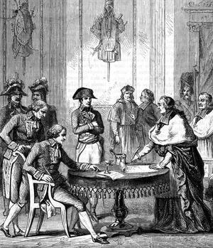 Signature du Concordat en 1802 entre Napoléon de Bonaparte et le légat du Pape.